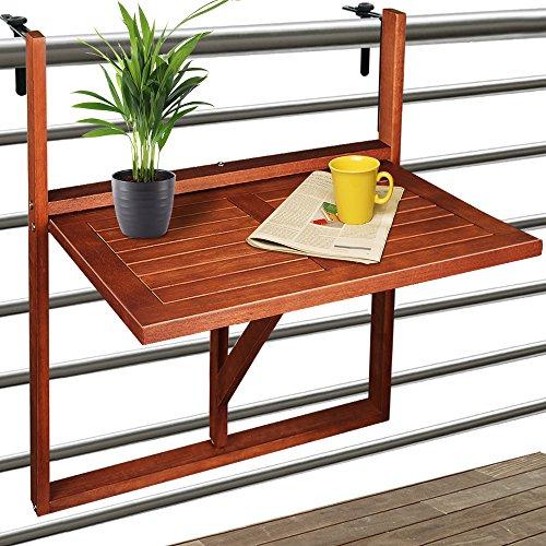 Deuba Balkonhängetisch Klappbar I FSC®-zertifiziertes Akazienholz I Hängend I 64x45x87cm Balkontisch Hängetisch Balkon