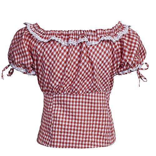 Trachtenset Damen Trachten Lederhose schwarz mit Trachtenbluse rot weiß kariert 46-46 -