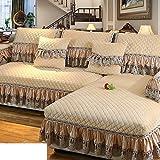 KFHIWUEHPJHD Encaje Vintage Suede sofá Cubierta,Felpa de cojín de sofá de Invierno Europea Anti Deslizante sofá Cubierta Completo Cubre sofá Toalla de Franela-B 70x210cm(28x83inch)