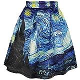 COUSIN CANAL Gonna Elastica a Campana con Stampe artistiche Casual (S/M, Starry Night)
