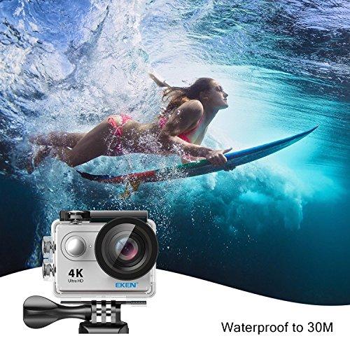 EKEN H9R Action Cam 4k Wifi Impermeabile Videocamera 170° Grandangolare Sport Action Camera subacquea con batteria 1050mAh batteria Telecomando e supporti per il montaggio (silver)