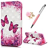 Case for Samsung J3 2017 MAXFE.CO Premium 3D Patterned PU Leather Case Cover Flip Wallet Case for Samsung Galaxy J3 2017 with Wrist Strap Card Holder & Touch Pen & Dust Plug, Flower & Butterfly