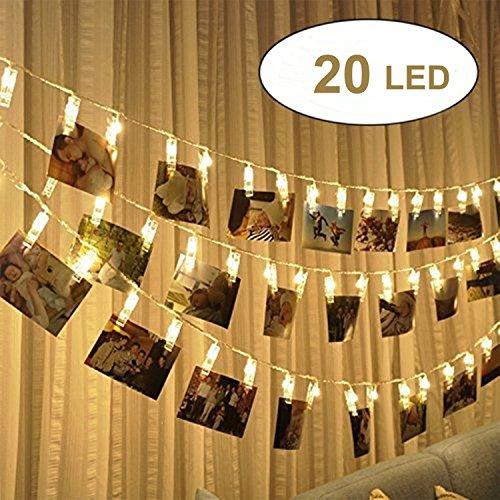 20 LED Foto Clip Stringa Illuminazione, 2.4m LEDs Foto Clips Mollette,foto clip luci di stringa...
