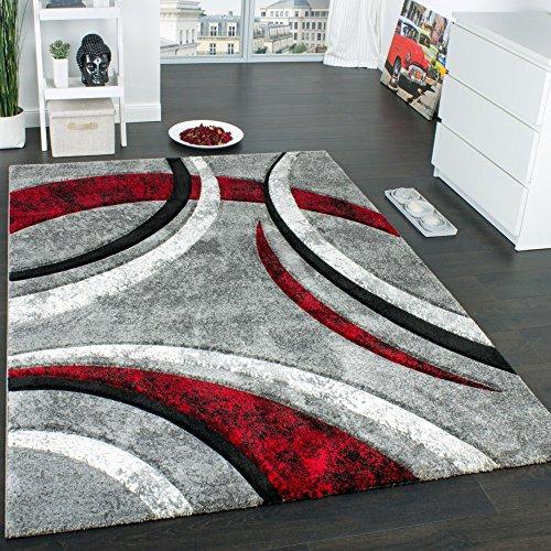 Paco Home Tappeto di Design con Bordo Definito Motivo A Righe Grigio Nero Rosso Screziato, Dimensione:200x290 cm