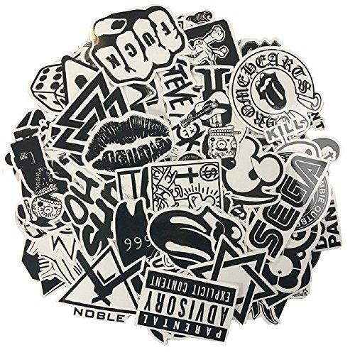 120 Stück schwarzer weißer Vinylaufkleber Graffiti-Abziehbild 1