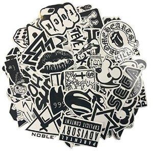 120 Stück schwarzer weißer Vinylaufkleber Graffiti-Abziehbild 7