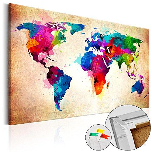 BD XXL murando Lavagna di Sughero 120x80 cm 1 Parte Quadro su Tela fliselina Poster Mappa del Mondo...