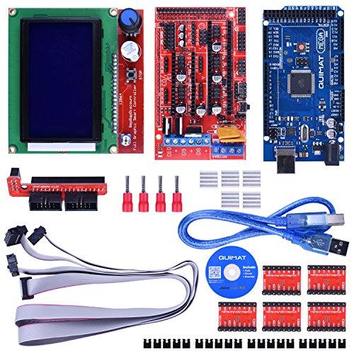 Quimat 3D Printer Controller Kit for Arduino Mega 2560 Starter Kits +RAMPS 1.4 + 5pcs A4988 Stepper Motor Driver + LCD 12864 for Arduino Reprap