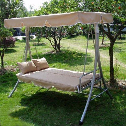 Hollywoodschaukel Gartenschaukel Moderne Gartenliege Outdoor Schaukelbank mit Liegefunktion 190x135x170cm JL10B