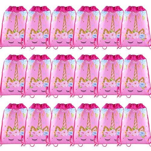 SIQUK 18 Piezas Bolsas con Cordón Bolsas de Unicornio para Unicornio Themed Party