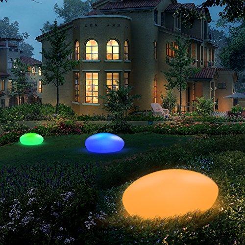Lampada solare da giardino per esterni, LED a energia solare, in pietra di ghiaia con un diametro...