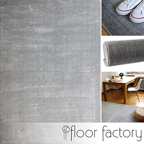 floor factory Tappeto moderno Kolibri grigio argento 200x200cm - colori vivaci e facile da pulire