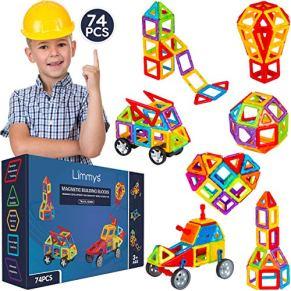 Limmys Bloques de construcción magnéticos Serie única de Viajes Juguetes de construcción para niños y niñas - El Juguete Educativo Stem Incluye 74 Piezas y un Libro de Ideas