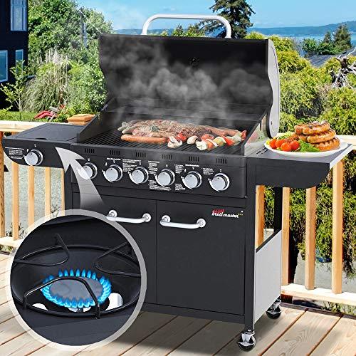 Barbecue à gaz | 6 brûleurs Principaux et 1 réchaud latéral, en Acier | BBQ, Gril pour Jardin Terrasses