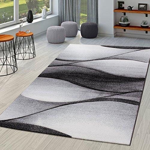 Moderno Tappeto Salotto Astratto Onde Design Taglio Sagomato in Grigio Antracite, Größe:60x110 cm