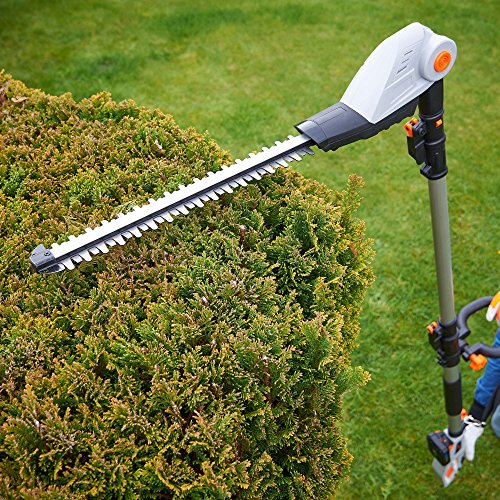 While some people may deem its 3.78kg weight as heavy, the cutting performance and versatility of head are worth compromising for. It even comes with a 2-year warranty. The bottom line is that this VonHaus 20V hedge trimmer is the best you can buy for the price and we have yet to find a better budget model.