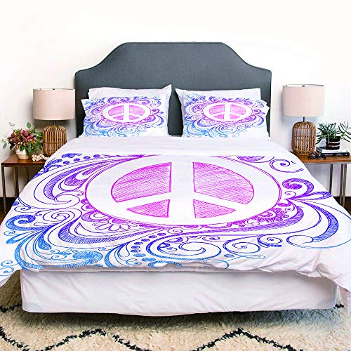 not Piumone-la Biancheria da Letto,Classic Hand Drawn Style Peace Sign And Swirls Freedom Change Hope Roll Icon,Microfibre, Piumino 1 Trapunta 220×240CM e 2 federe 50×80CM