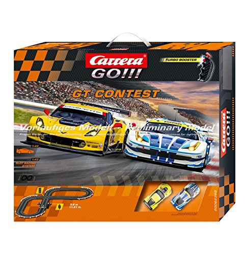 Carrera USA 1:43 Scale Analogue System Slot Car Race Track Set with 2 Racing Cars Ferrari and Chevrolet Corvette , 2 Dual-Speed Controllers with Turbo (Multicolour)
