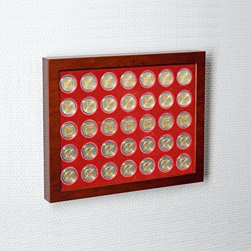 Leuchtturm 321106 Münz-Vitrine LOUVRE   Setzkasten mit 35 Fächer für Münzkapseln und Münzen mit 26 mm Ø   Außenformat: 256 x 320 x 28 mm