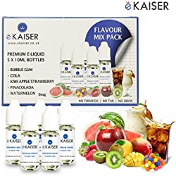 Ekaiser 5 X 10ml E-Flüssigkeit Geschmack Pack | Bubble Gum | Apfel Kiwi Erdbeere | PinaColada | Cola | Wassermelone | Spezielle neue Formel für Dampf entwicklung und Geschmack treffer mit nur hochwertige Zutaten | Hergestellt für E-Zigaretten E-Shisha