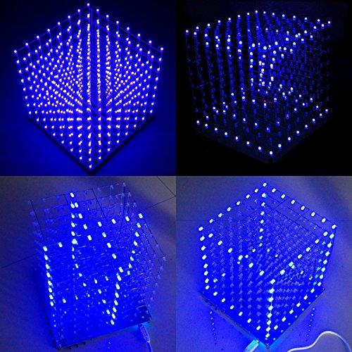 61uskotviaL - Arduino DIY sansido 8x 8x 8LED Cube 3d Square Kit de electrónica de soldadura Sarter Junta de luz (LED azul)