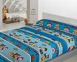 Juego de Sábanas Térmica Coralina 160gr PATRULLA CANINA (PAW PATROL) (Azul, Para cama de 90x190)