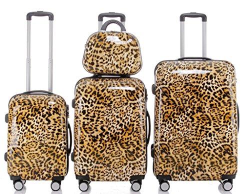 Polycarbonat Hartschale Koffer 2060 Trolley Reisekoffer Reisekofferset Beutycase 3er oder 4er Set in 12 Motiven (Leopard)