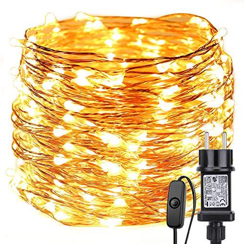 LE Stringa luminosa 22m, 200 LED in Rame Impermeabile e Immergibile IP65 Modellabile Bianco Caldo Per decorazioni Feste Alberi di Natale, San Valentino