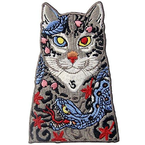 ZEGIN Toppa ricamata da applicare con ferro da stiro o cucitura, tema: Tatuaggi con gatti e serpenti