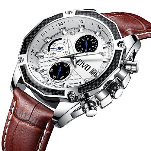 CIVO Herren Uhren Multifunktional Chronograph Datum Kalender Wasserdicht Analog Quarzuhr mit Braun Echtes Lederband Luxus Beiläufig Geschäft Mode Armbanduhr zum Männer mit Prismatisches Zifferblatt