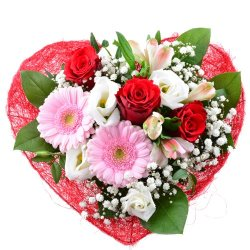 floristikvergleich.de Blumenversand – Blumenstrauß – Liebesgruß mit roten Rosen, rosa Gerbera, weißen Eustoma mit Gratis – Grußkarte für ihre Liebsten – bundesweit versenden!