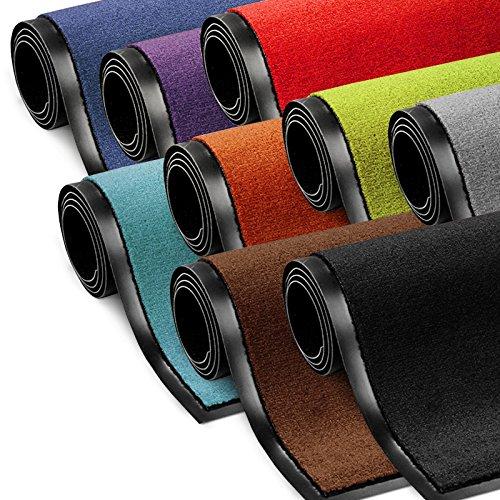 Schmutzfangmatte ColorLine   Türmatte in vielen Größen   Fußmatte für Innenbereich   rutschfester Teppich für Flur, Haustür, Eingang, Eingangsbereich, Vorzimmer - Schwarz 40x60 cm