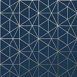 Papier Peint Metro Prisme Géométrique Triangle - Bleu Marine et Or - WOW008 World of Wallpaper