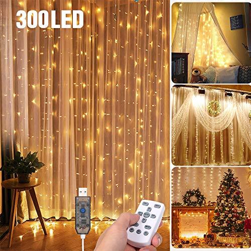 Tomshine Tenda Luci LED 3 x 3 meters, 300 LEDs con Luci Natale Tenda, IP65, 8 Programmi di...