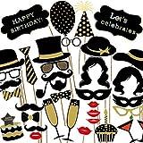 Veewon Accesorios de la cabina de la foto de la fiesta de cumpleaños 35pcs DIY Pastel de cumpleaños del kit, muestra del feliz cumpleaños, bigote, vidrios, lazos, labios para la celebración del cumpleaños