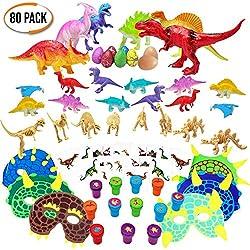 Conjunto de 80 Granel Juguetes de Mini dinosaurios surtidos - Amplia selección - Ideal para bolsas regalo de fiesta - Rellenos de piñata - Fiestas temáticas de dinosaurios y eventos - Cumpleaños niños