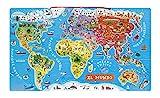 Janod- PUZLE MAGNÉTICO DE 92 PZAS. Serie Atlas-VERSIÓN ESPAÑOL Puzzle mapamundi, (Juratoys J05503)