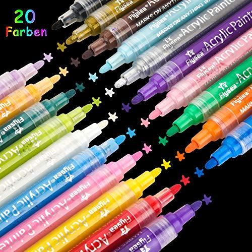 AILUKI 20 Farben Acrylstifte, Acrylfarben Süßigkeitfarbe Marker Stift Wasserfest Textmarker DIY-Handwerk Faserstift für Steine Bemalen, Holz, Leinwand, Fotoalbum, Glas, Metall ins empfohlen