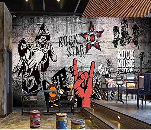 XHYBH Foto 3D Carta Da Parati Murale Stanza Divano Tv Sfondo Muro Dipinto Nostalgico Hip Hop Musica...