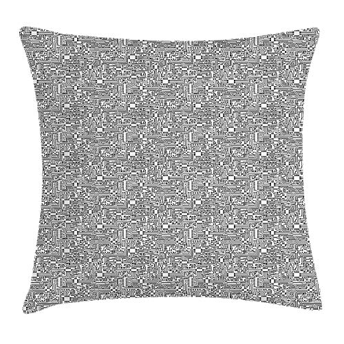 Cuscino Divano Decor Black And White Throw Pillow Cushion Cover, Hi-Tech Themed Monochrome Pattern Abstract Design Engineering Science, Decorative Square Accent Pillow Case, Black White