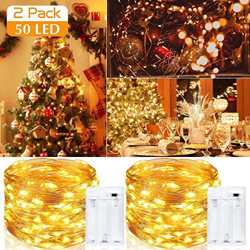 Luci LED Batteria [2 Pezzi], Litogo Catena Luminosa 5m 50 LED Filo Rame Ghirlanda Luminosa Lucine LED Decorative Waterproof per Camere da Letto Giardino Casa Feste Natale Matrimonio (Bianco Caldo)
