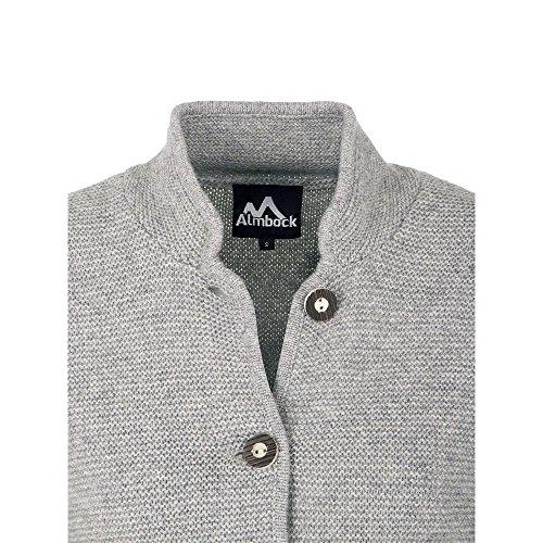 ALMBOCK Trachten Strickjacken für Damen | Damen Trachtenjacke mit Hirschhornoptik Knöpfen | Strickjacke Trachten grau - Trachtenjacke Gr. XL - 5