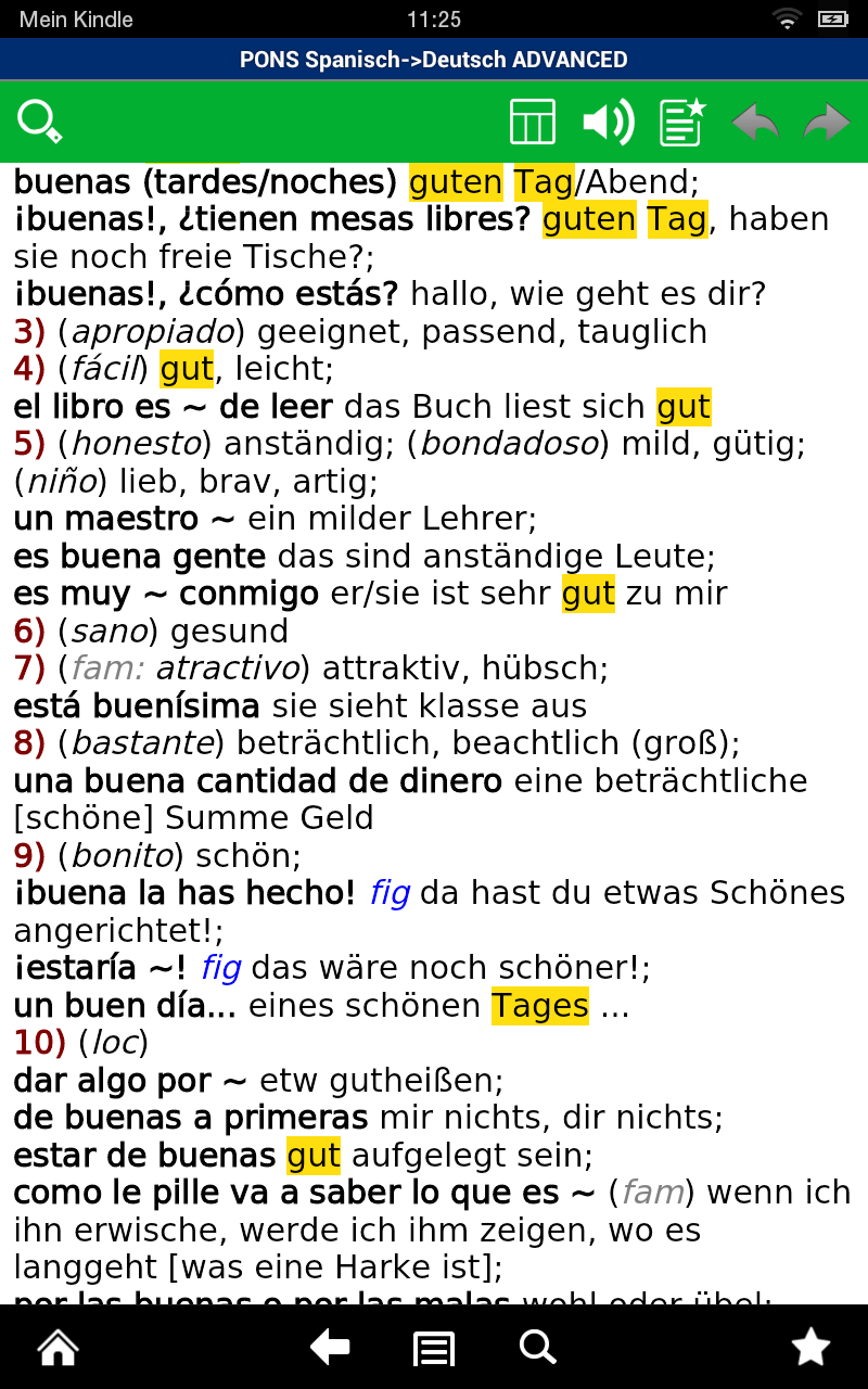 PONS Wörterbuch Spanisch - Deutsch ADVANCED Screenshot