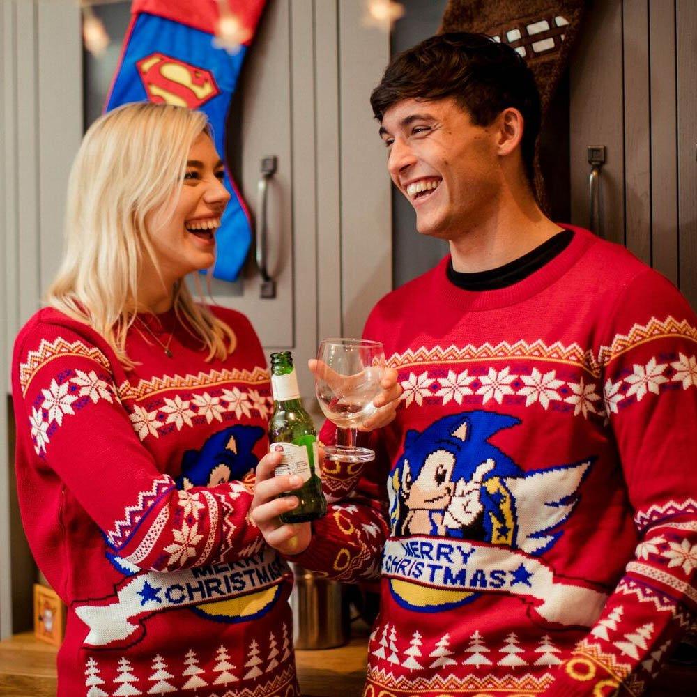 Hedgehog Christmas Jumper.Official Classic Sonic The Hedgehog Christmas Jumper Ugly Sweater