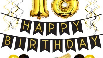 18th Birthday Party Pack Black Gold Happy Bunting