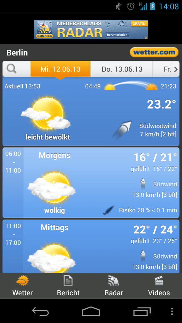 wetter.com Screenshot