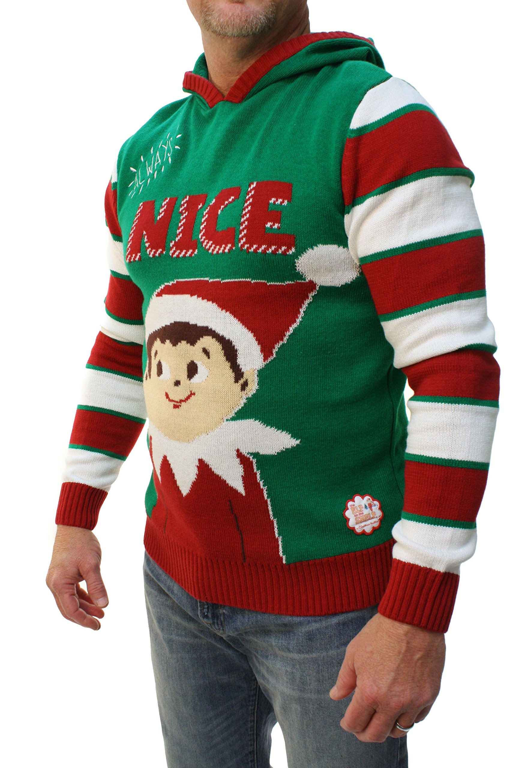 Ugly Christmas Sweater Mens Always Nice The Elf On The Shelf Hooded