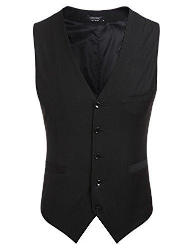 (クーファンディ)Coofandy ジレ ベスト メンズ ビジネス フォーマル スーツ仕立て 3ポケット 5ボダン スリム フィット Vネック 紳士 尾錠付き 上質 黒 グレー S~XXL