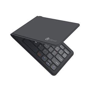 iClever Bluetoothキーボード 折りたたみ式 レザー調 折れない 360度回転 ワイヤレスキーボード USB 薄型 IOS / Android / Windows に対応 ( ブラック ) IC-BK06