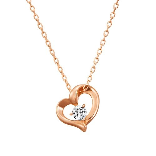 4℃ (ヨンドシ-)ハートモチーフ ダイヤモンド K18ピンクゴールド(PG)ネックレス 111231123106